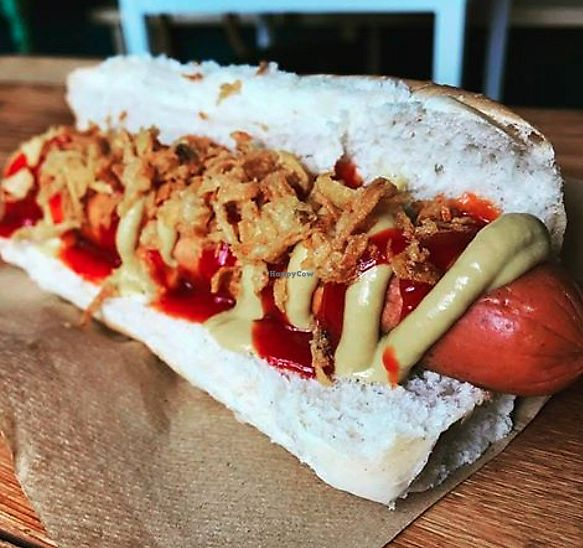 Photo of CLOSED: Chalk Cafe  by chalkcafe <br/>Vegan gourmet hot dog  <br/> September 14, 2017  - <a href='/contact/abuse/image/94406/304306'>Report</a>