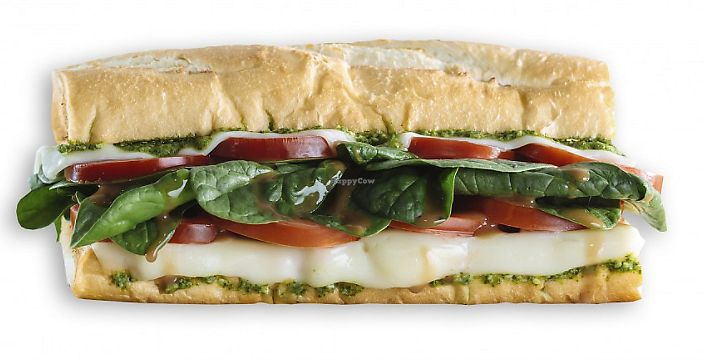 """Photo of Which Wich  by <a href=""""/members/profile/MelodyVeganJoy"""">MelodyVeganJoy</a> <br/>Easy-peasy Italian caprese. Tomato, mozzarella, and pesto, plus your choice of over 40 different topping options <br/> April 5, 2018  - <a href='/contact/abuse/image/94421/381337'>Report</a>"""