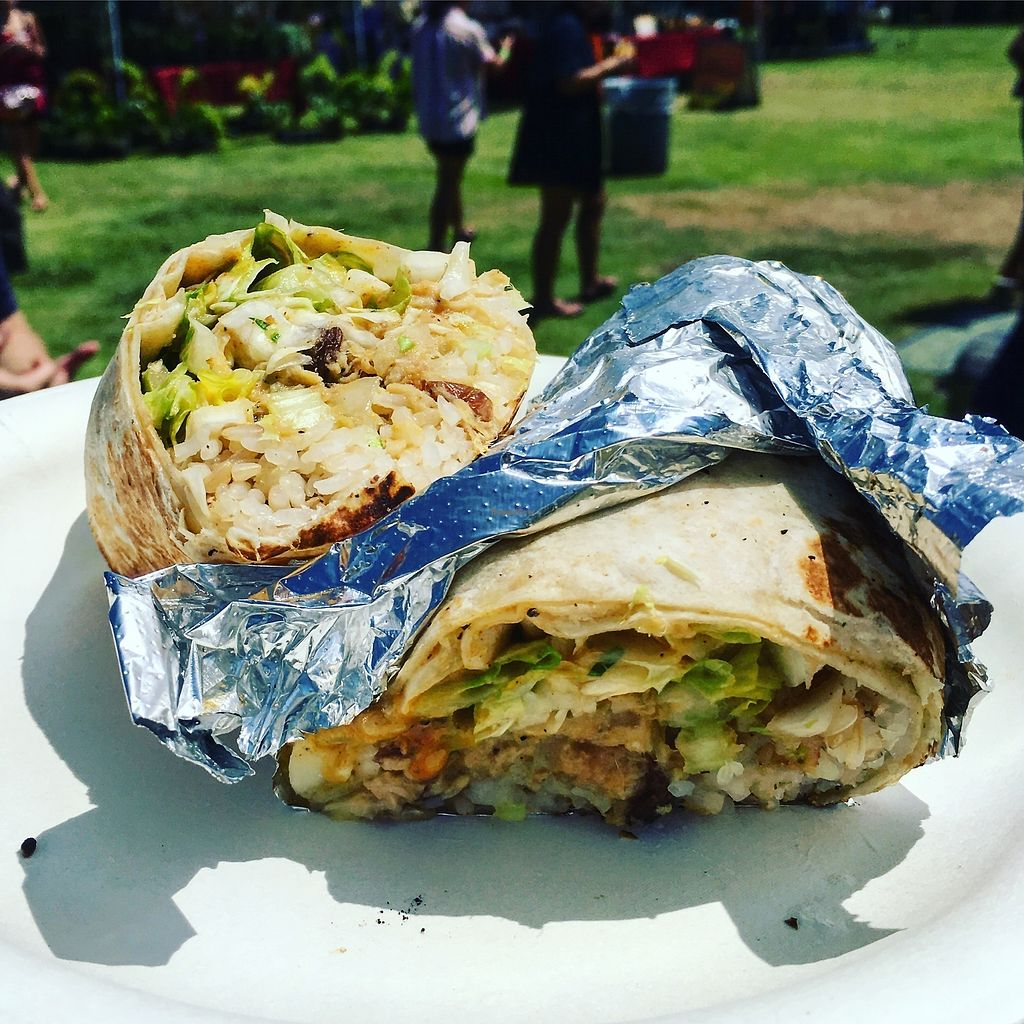 """Photo of Loko Wraps  by <a href=""""/members/profile/jlideik%40gmail.com"""">jlideik@gmail.com</a> <br/>Vegan burrito wrap - came with coconut rice, pineapple coleslaw, salad greens, jackfruit bbq, avocado and green jungle sauce (hot hot!)  <br/> July 3, 2017  - <a href='/contact/abuse/image/94430/276434'>Report</a>"""