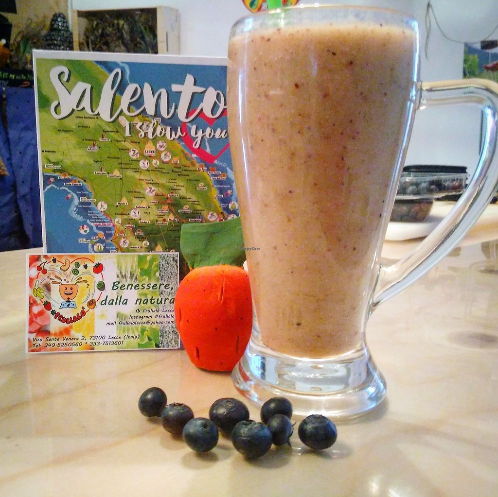 "Photo of CLOSED: Frullalo Juice Bar  by <a href=""/members/profile/frullalolecce"">frullalolecce</a> <br/>Salento Smoothies <br/> June 27, 2017  - <a href='/contact/abuse/image/94454/274072'>Report</a>"