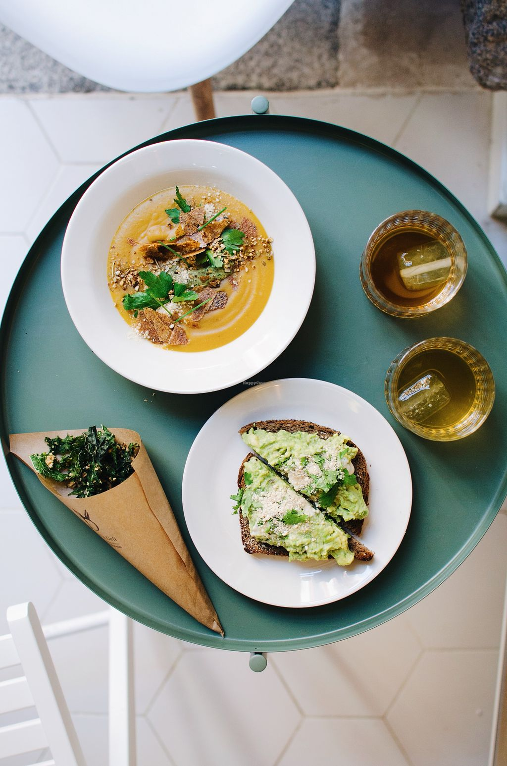 """Photo of Bunny's Deli  by <a href=""""/members/profile/EricTrusiewicz"""">EricTrusiewicz</a> <br/>Soup, Toast & Kale Chips with Organic Iced Infusion <br/> April 20, 2018  - <a href='/contact/abuse/image/94460/388620'>Report</a>"""