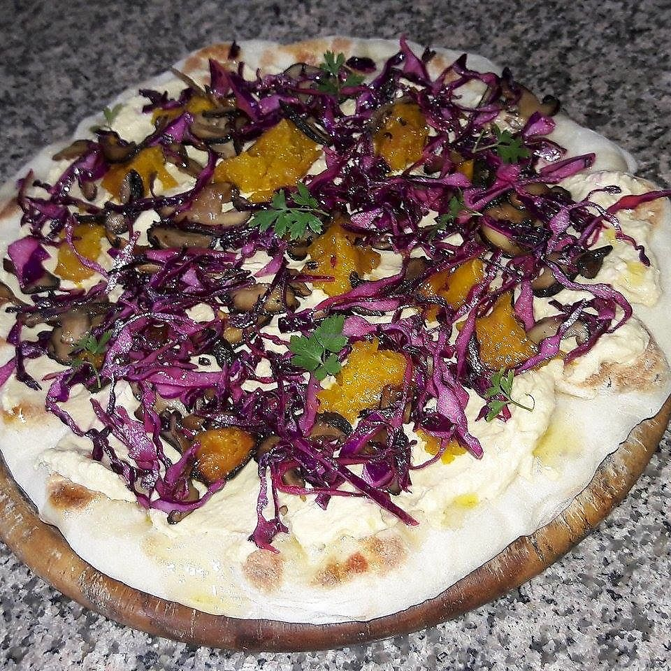 """Photo of REMOVED: O Sole Mio  by <a href=""""/members/profile/LorisPasquali"""">LorisPasquali</a> <br/>pizza hummus with marinated cabbage mushroom and pumking <br/> June 21, 2017  - <a href='/contact/abuse/image/94468/271842'>Report</a>"""