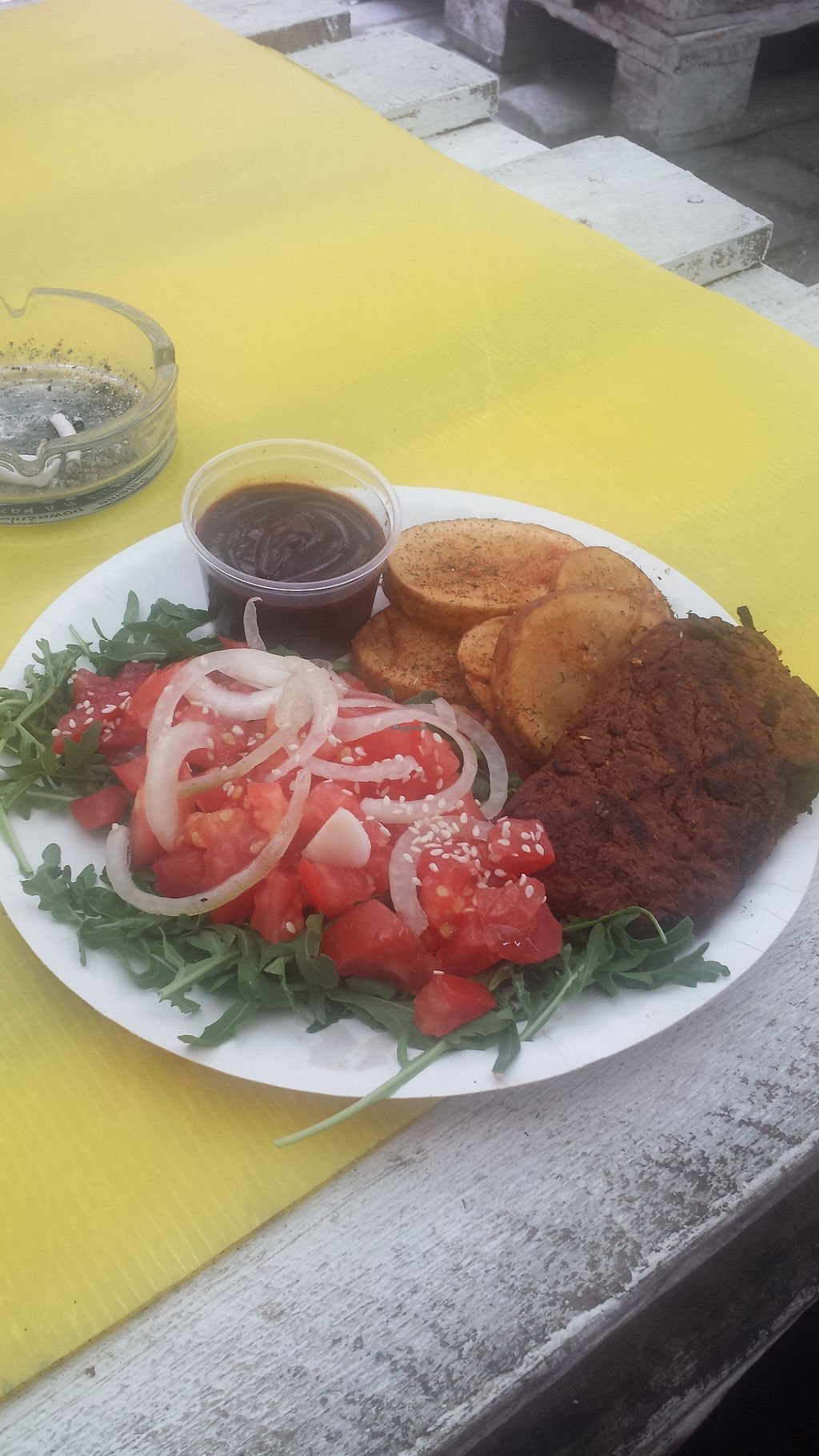 """Photo of CLOSED: Chatpata Vege Grill - Food Stand  by <a href=""""/members/profile/ajel"""">ajel</a> <br/>Vegan schnitzel, grilled potatoes, tomatoes <br/> November 20, 2017  - <a href='/contact/abuse/image/94483/327519'>Report</a>"""