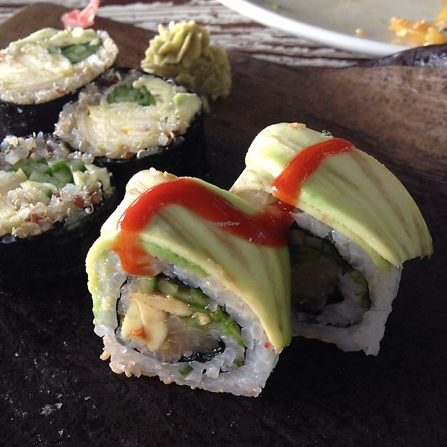 """Photo of Eatery  by <a href=""""/members/profile/Yasminenazmy"""">Yasminenazmy</a> <br/>vegan sushi - avocado pineapple roll <br/> July 14, 2017  - <a href='/contact/abuse/image/94514/280212'>Report</a>"""