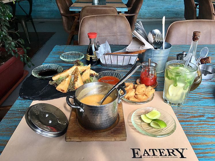 """Photo of Eatery  by <a href=""""/members/profile/NikuskaRawPassion"""">NikuskaRawPassion</a> <br/>Vegan lunch - mint,lemon and ginger detox water; lentil soup and veggie spring rolls <br/> September 2, 2017  - <a href='/contact/abuse/image/94514/300072'>Report</a>"""