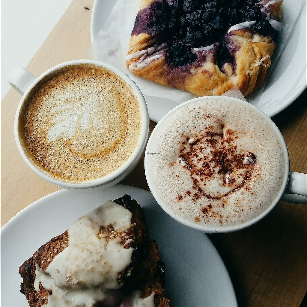 "Photo of Jet Black Coffee Company  by <a href=""/members/profile/AmandaDo"">AmandaDo</a> <br/>Oat latte, oat hot chocolate, blueberry danish and a cranberry orange scone!! <br/> April 4, 2018  - <a href='/contact/abuse/image/94515/380450'>Report</a>"