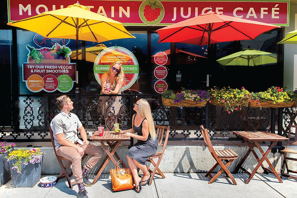 "Photo of Mountain Juice Cafe  by <a href=""/members/profile/KathieCook"">KathieCook</a> <br/>Enjoy our Summer Patio with some of the best view in town!  <br/> June 21, 2017  - <a href='/contact/abuse/image/94535/271961'>Report</a>"