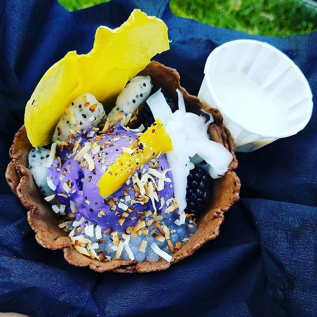 """Photo of Ube Kitchen - Food Stall  by <a href=""""/members/profile/NickShippers"""">NickShippers</a> <br/>Purple Dragon with vegan salted ube ice cream, granola, tapioca pearls, blackberries, toasted coconut, red mung beans, dehydrated mango chip, and dragon fruit slices in a edible waffle bowl.  <br/> June 22, 2017  - <a href='/contact/abuse/image/94557/272377'>Report</a>"""