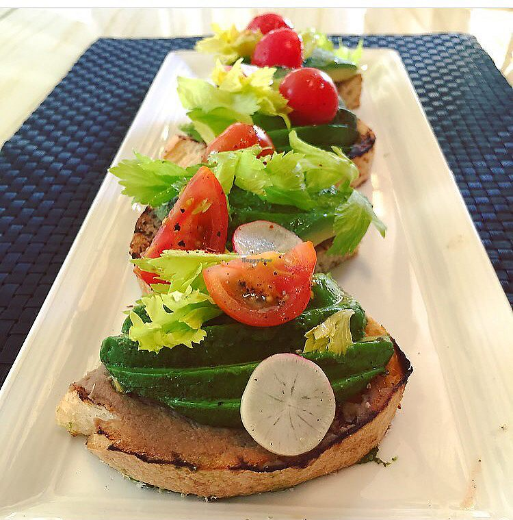"""Photo of Wynn Hotel - Jardin  by <a href=""""/members/profile/happycowgirl"""">happycowgirl</a> <br/>Avocado toast on base of hummus (vegan) <br/> June 28, 2017  - <a href='/contact/abuse/image/94650/274221'>Report</a>"""