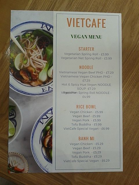 """Photo of VietCafe  by <a href=""""/members/profile/deadpledge"""">deadpledge</a> <br/>Vegan menu <br/> July 3, 2017  - <a href='/contact/abuse/image/94683/276392'>Report</a>"""