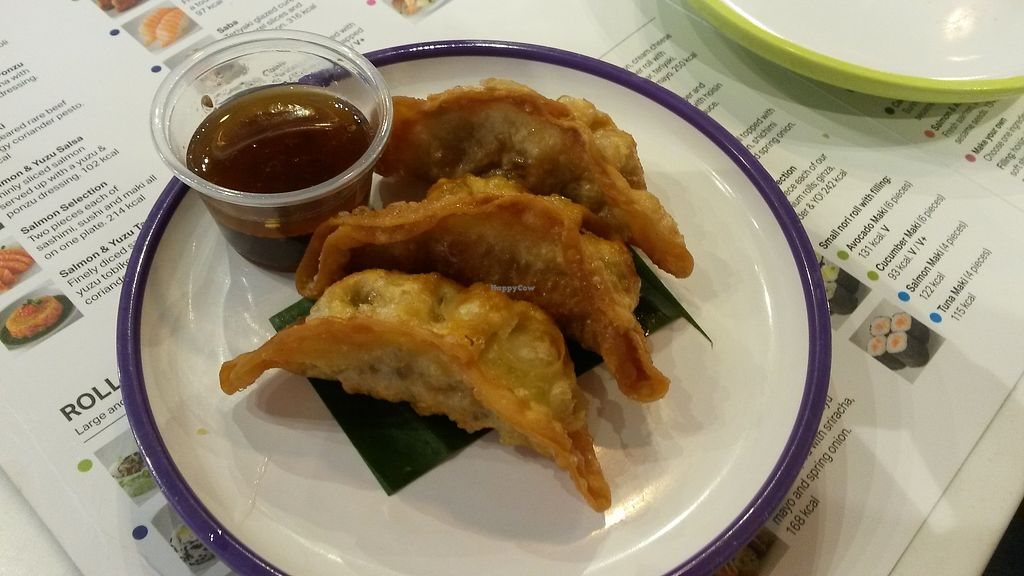"Photo of YO! Sushi  by <a href=""/members/profile/deadpledge"">deadpledge</a> <br/>Vegan gyozas <br/> July 30, 2017  - <a href='/contact/abuse/image/94684/286629'>Report</a>"
