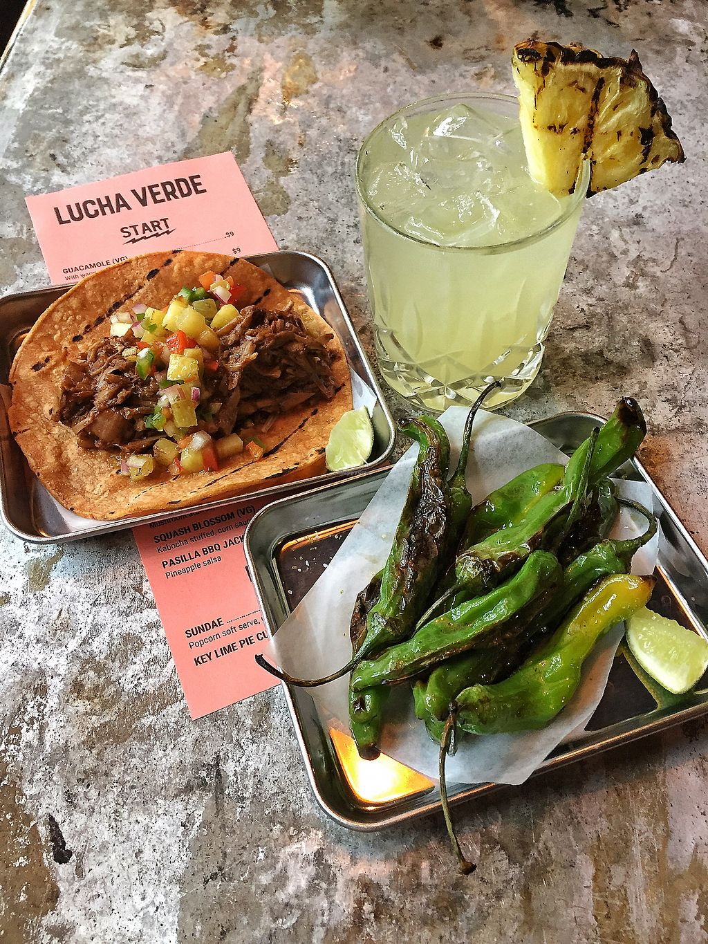 """Photo of Lucha Verde  by <a href=""""/members/profile/SwagDaddyMcYolo"""">SwagDaddyMcYolo</a> <br/>Limo Wreck (mezcal) cocktail, Pasillo BBQ Jackfruit taco, blistered shisho peppers <br/> July 2, 2017  - <a href='/contact/abuse/image/94740/276062'>Report</a>"""