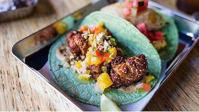 "Photo of Lucha Verde  by <a href=""/members/profile/SwagDaddyMcYolo"">SwagDaddyMcYolo</a> <br/>Cauliflower tacos : pumpkin purée, Achiote Cauliflower, orange salsa.  <br/> July 2, 2017  - <a href='/contact/abuse/image/94740/276077'>Report</a>"