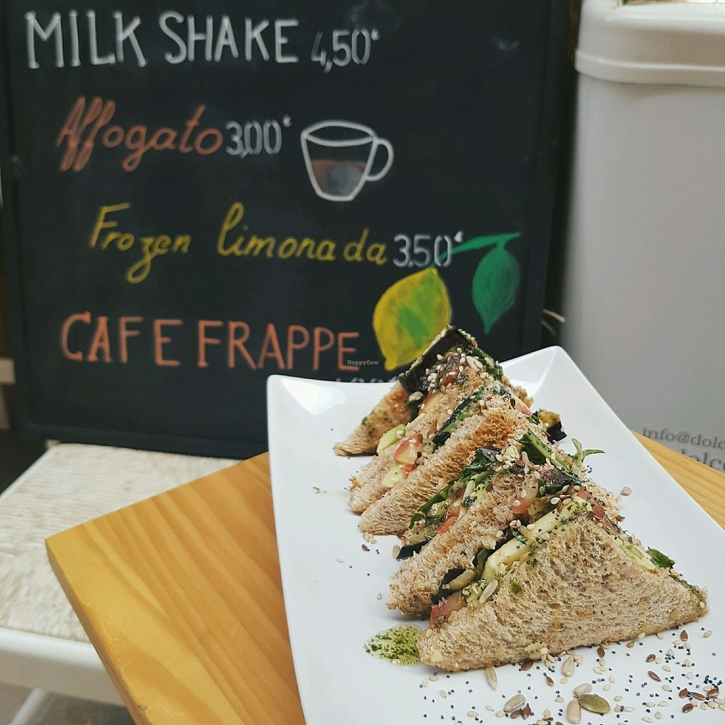 """Photo of CLOSED: Pop & Eat  by <a href=""""/members/profile/TalithaGrace"""">TalithaGrace</a> <br/>So good! Club sandwich with vegan cheese, pesto, grilled veggies, tomato and seeds  <br/> September 13, 2017  - <a href='/contact/abuse/image/94763/304025'>Report</a>"""