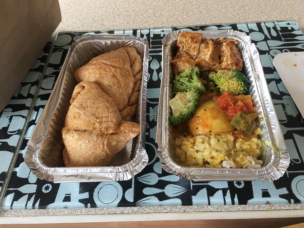 "Photo of Govinda's - Abbey St  by <a href=""/members/profile/ErinLewis"">ErinLewis</a> <br/>Large vegan takeout and 2 samosas! <br/> July 27, 2017  - <a href='/contact/abuse/image/9483/285505'>Report</a>"