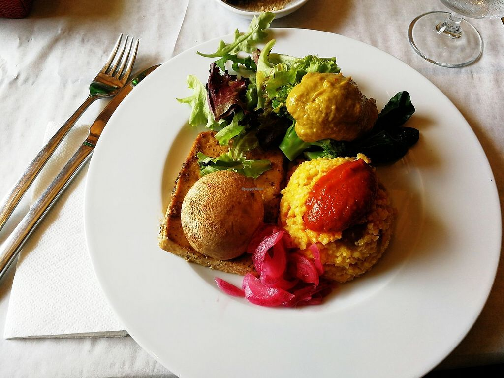 """Photo of Mó Veggie Bistro  by <a href=""""/members/profile/BlisterBlue"""">BlisterBlue</a> <br/>Dish of the day: grilled tofu with mustard sauce, broccoli and millet <br/> September 14, 2017  - <a href='/contact/abuse/image/94852/304382'>Report</a>"""