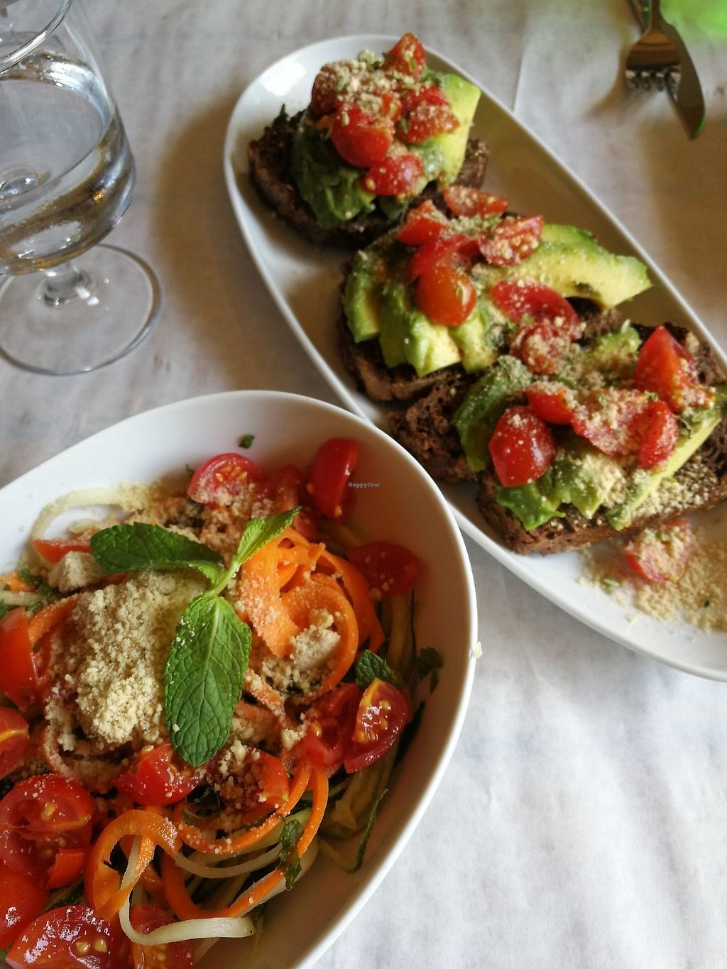 """Photo of Mó Veggie Bistro  by <a href=""""/members/profile/BlisterBlue"""">BlisterBlue</a> <br/>Zucchini salad with mint dressing  Avocado on toast <br/> September 14, 2017  - <a href='/contact/abuse/image/94852/304383'>Report</a>"""