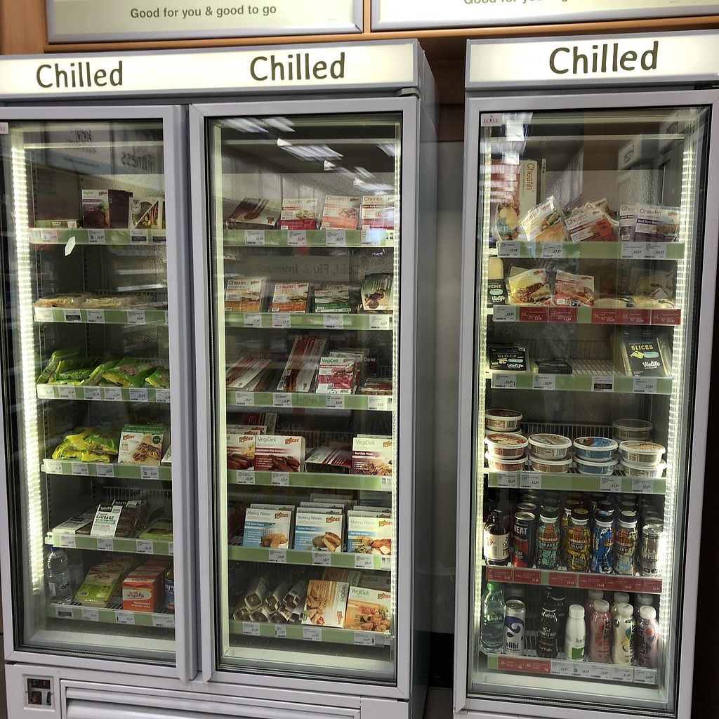 """Photo of Holland & Barrett  by <a href=""""/members/profile/TARAMCDONALD"""">TARAMCDONALD</a> <br/> Filled fridge for vegans and vegetarians <br/> April 1, 2018  - <a href='/contact/abuse/image/94896/379390'>Report</a>"""