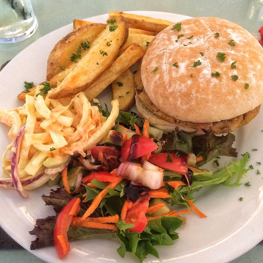 """Photo of Diamond Lil's  by <a href=""""/members/profile/KelBram"""">KelBram</a> <br/>Bean burger, hand cut chunky chips and vegan coleslaw.  Yum! <br/> September 16, 2017  - <a href='/contact/abuse/image/94904/305032'>Report</a>"""