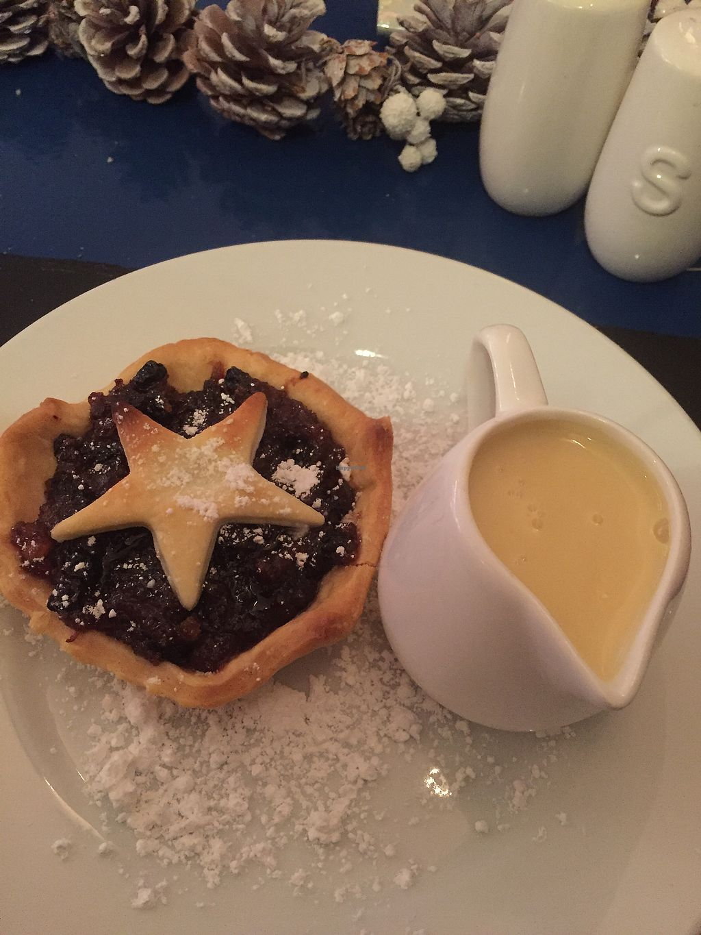 """Photo of Diamond Lil's  by <a href=""""/members/profile/VeganSnippets"""">VeganSnippets</a> <br/>Vegan mince pie and custard sorry forgot to photograpgh the rest!!! I just wanted to eat it  <br/> December 21, 2017  - <a href='/contact/abuse/image/94904/337883'>Report</a>"""