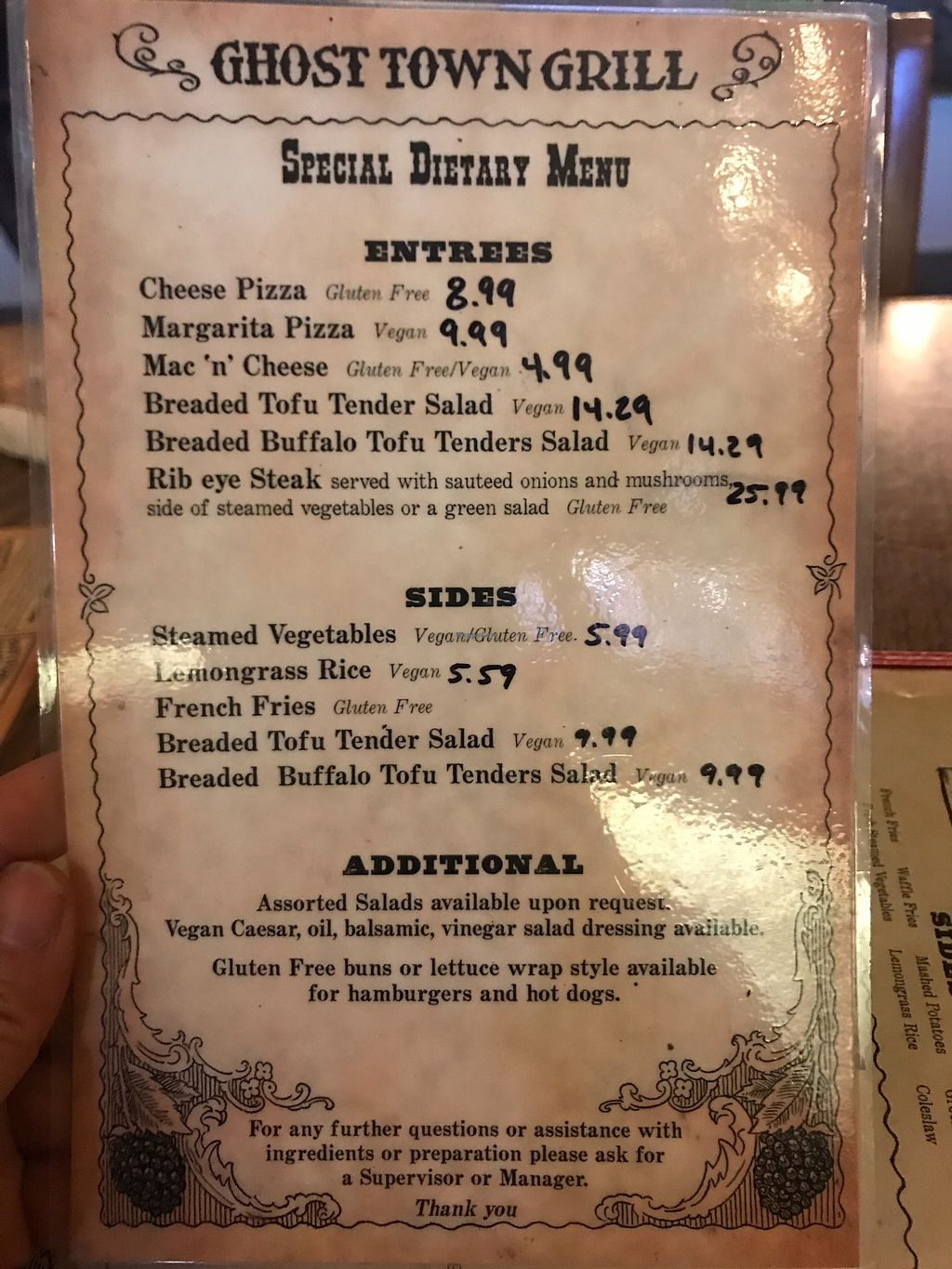 """Photo of Knott's Berry Farm - Ghost Town Grill  by <a href=""""/members/profile/Indysay"""">Indysay</a> <br/>Dietary restrictions menu <br/> June 28, 2017  - <a href='/contact/abuse/image/94925/274243'>Report</a>"""