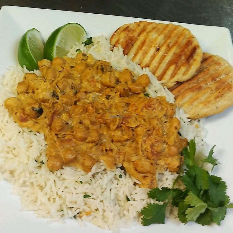 """Photo of Cafe 213  by <a href=""""/members/profile/LauraSchachner"""">LauraSchachner</a> <br/>Channa masala special with homemade naan <br/> July 4, 2017  - <a href='/contact/abuse/image/94927/276544'>Report</a>"""