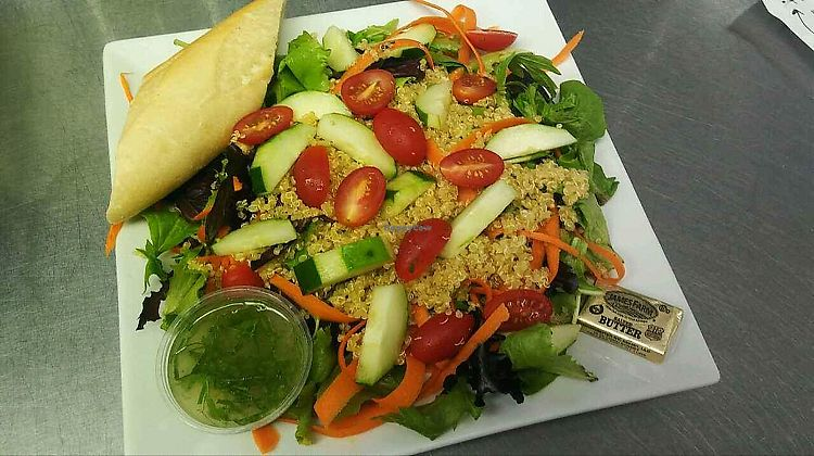 """Photo of Cafe 213  by <a href=""""/members/profile/LauraSchachner"""">LauraSchachner</a> <br/>quinoa salad, skip the butter and ask for unbuttered bread  <br/> July 4, 2017  - <a href='/contact/abuse/image/94927/276545'>Report</a>"""