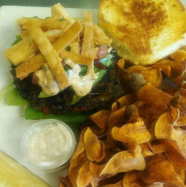 """Photo of Cafe 213  by <a href=""""/members/profile/LauraSchachner"""">LauraSchachner</a> <br/>black bean burger with hand made sweet potato chips  <br/> July 4, 2017  - <a href='/contact/abuse/image/94927/276546'>Report</a>"""