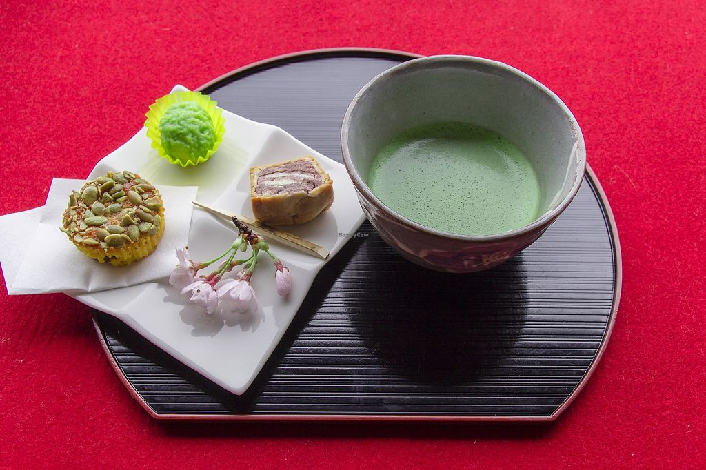 """Photo of Kanrantei Tea House  by <a href=""""/members/profile/JVeggie"""">JVeggie</a> <br/>Example of the Ladies set. Zunda mochi (sweetened edamame over pounded mochi rice), Matsushima (red bean with cream cheese """"waves""""), and squash cake with green matcha tea <br/> July 3, 2017  - <a href='/contact/abuse/image/94942/276203'>Report</a>"""