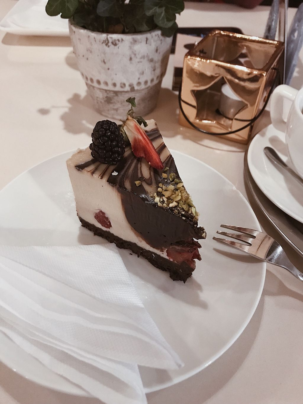"""Photo of Cafe Gusto  by <a href=""""/members/profile/Blon%C4%8Fav%C3%A1D%C3%A1%C5%A1ka"""">BlonďaváDáška</a> <br/>Raw vegan cake with dark chocolate and strawberries  tasteful  <br/> March 15, 2018  - <a href='/contact/abuse/image/94951/371009'>Report</a>"""
