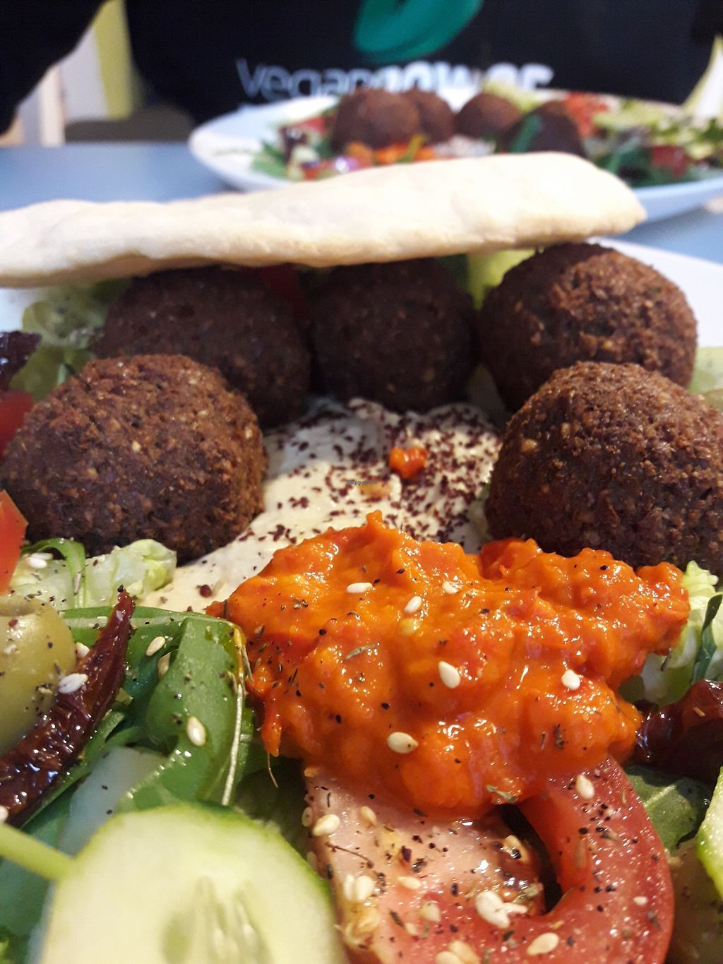 """Photo of Zielona Micha  by <a href=""""/members/profile/DimitraPontikaki"""">DimitraPontikaki</a> <br/>Falafel with hummus and salad... yiammmyyyy <br/> March 25, 2018  - <a href='/contact/abuse/image/94991/375948'>Report</a>"""