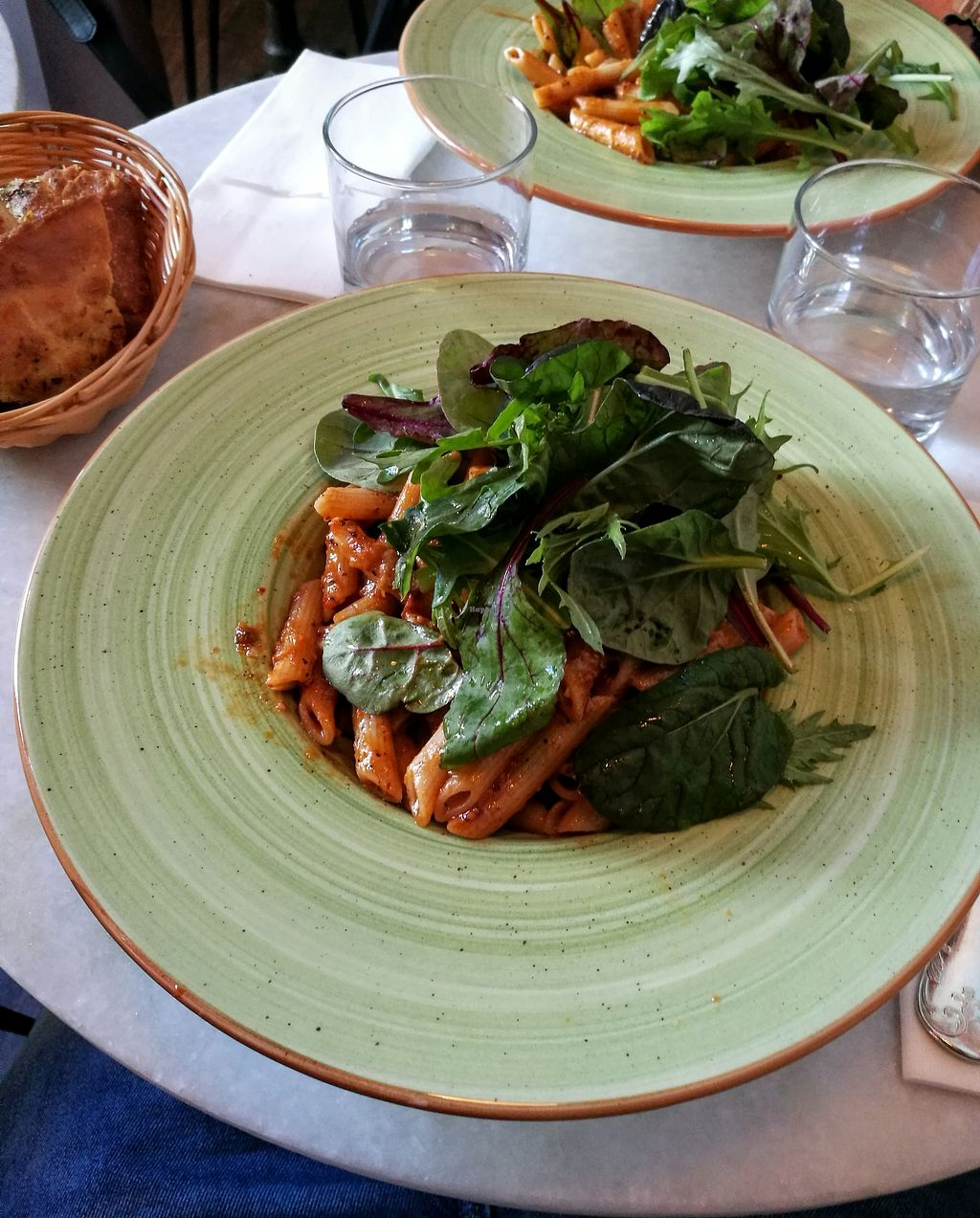 """Photo of Grön Mat & Deli  by <a href=""""/members/profile/Aladoran"""">Aladoran</a> <br/>Vegopasta with tomato sauce, salad and vegan garlic bread <br/> July 1, 2017  - <a href='/contact/abuse/image/95036/275565'>Report</a>"""