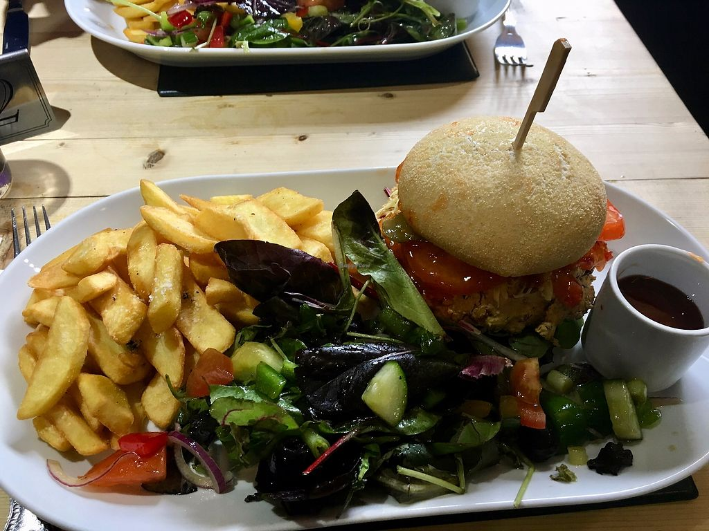 """Photo of Cross Keys Inn  by <a href=""""/members/profile/britred11"""">britred11</a> <br/>Vegan Burger with all the trimmings <br/> August 5, 2017  - <a href='/contact/abuse/image/95053/289157'>Report</a>"""
