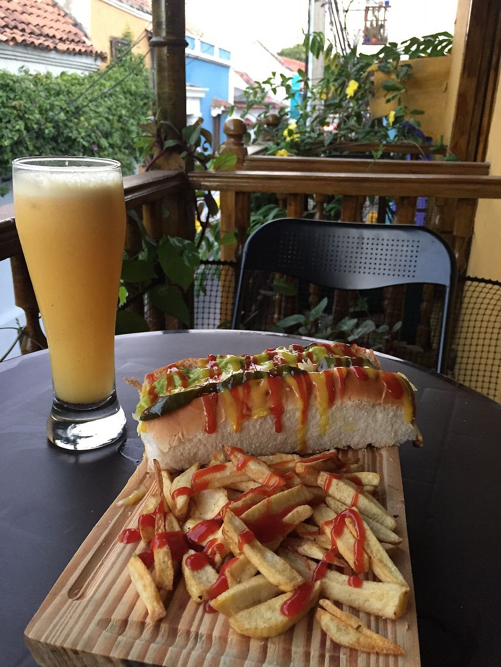 """Photo of Samudra Govindas  by <a href=""""/members/profile/Lorna87"""">Lorna87</a> <br/>Hotdog with vegan cheese, guacamole and pickles <br/> February 12, 2018  - <a href='/contact/abuse/image/95073/358605'>Report</a>"""