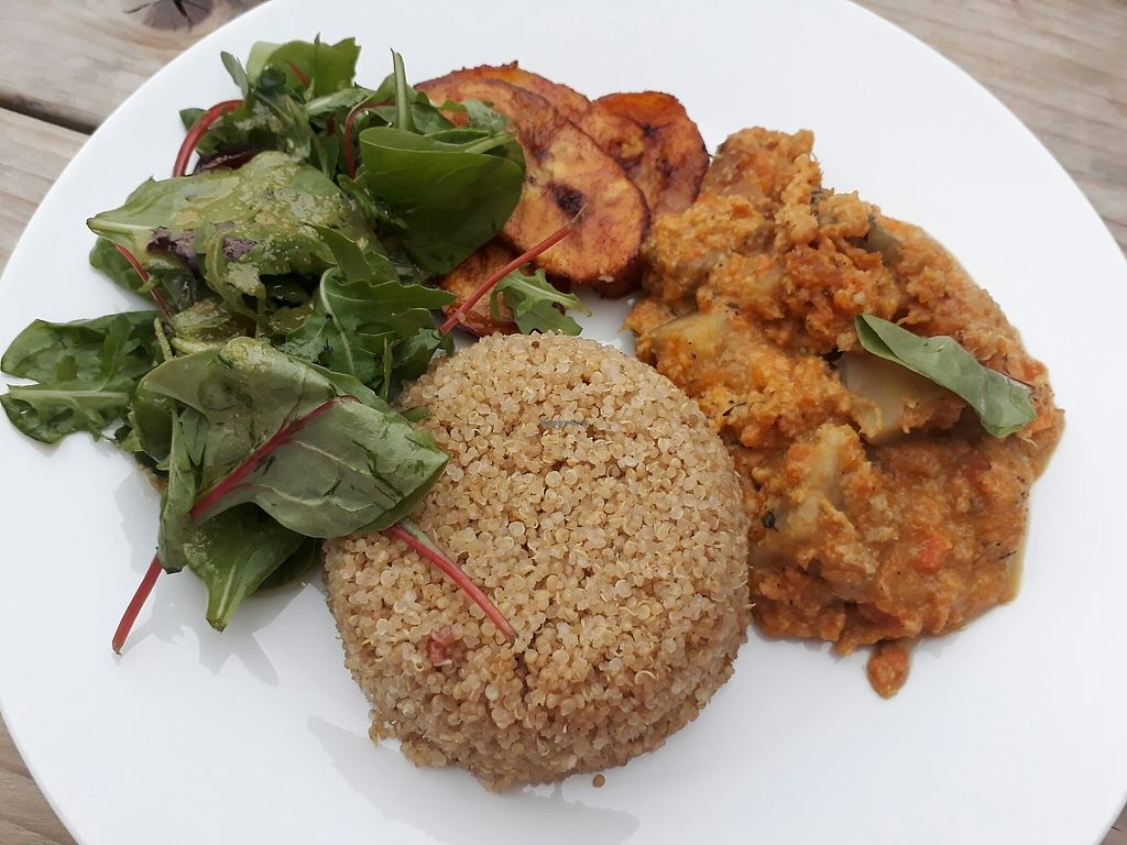 "Photo of Eat of Eden  by <a href=""/members/profile/LilacHippy"">LilacHippy</a> <br/>Pumpkin and sweet potato curry with fritters, bulgur and plantain <br/> July 6, 2017  - <a href='/contact/abuse/image/95115/277243'>Report</a>"