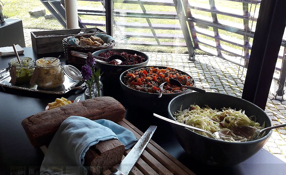 """Photo of Smakka Cafe  by <a href=""""/members/profile/Veganolive1"""">Veganolive1</a> <br/>Buffet with vegan salads, houmous, pesto & bread <br/> July 7, 2017  - <a href='/contact/abuse/image/95142/277487'>Report</a>"""