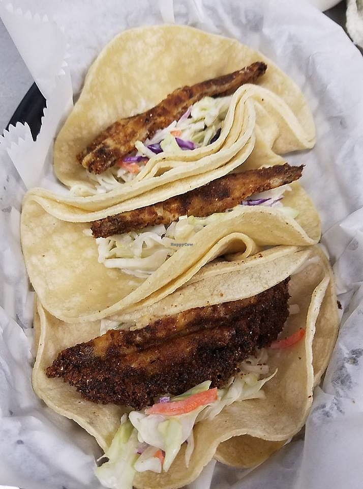 """Photo of The Candy Wraptor Dinosaur Cafe  by <a href=""""/members/profile/LisaMarieRay"""">LisaMarieRay</a> <br/>Vegan Fish Tacos <br/> September 19, 2017  - <a href='/contact/abuse/image/95157/306054'>Report</a>"""
