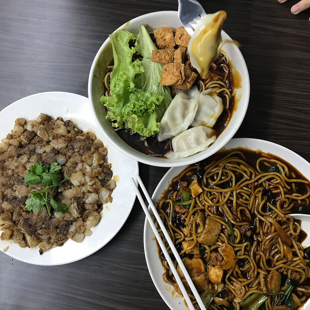 """Photo of Shu Vegetarian - Ang Mo Kio   by <a href=""""/members/profile/Sweetveganneko"""">Sweetveganneko</a> <br/>Noodles and carrot cake  <br/> March 5, 2018  - <a href='/contact/abuse/image/95161/367118'>Report</a>"""