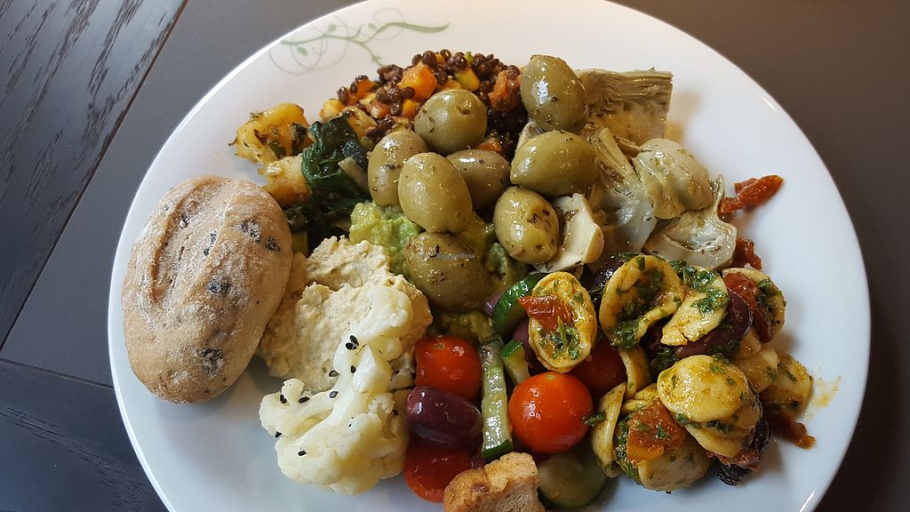 """Photo of Tibits  by <a href=""""/members/profile/VeganAnnaS"""">VeganAnnaS</a> <br/>Great tasting plate (remember to pick up your roll!) <br/> July 11, 2017  - <a href='/contact/abuse/image/95180/279225'>Report</a>"""