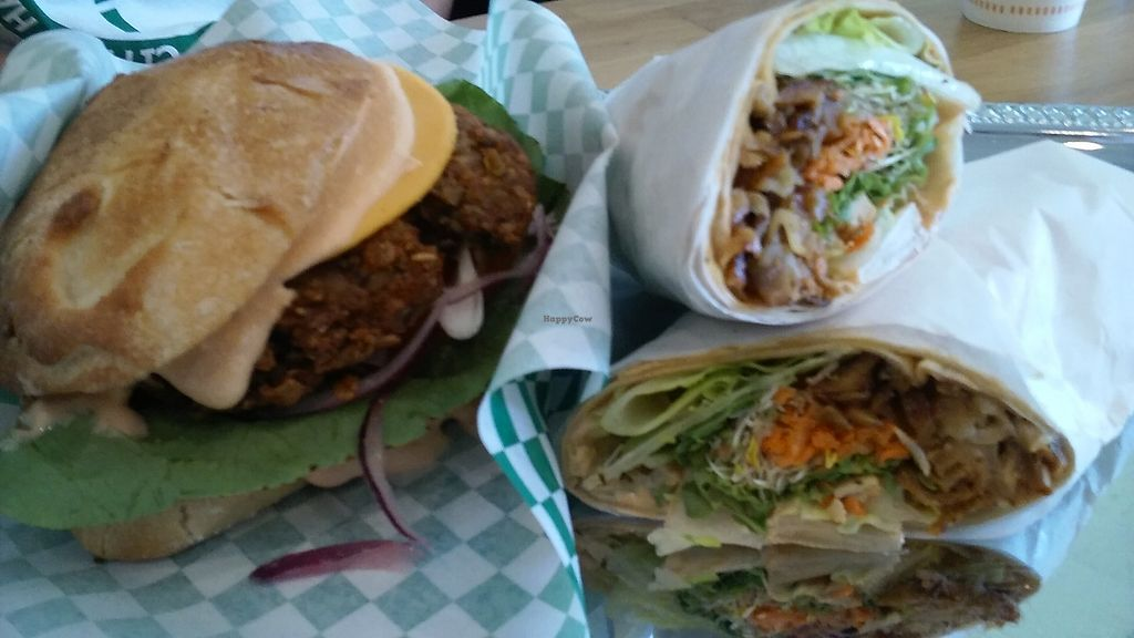 """Photo of enVegan  by <a href=""""/members/profile/Johnhill76"""">Johnhill76</a> <br/>Crispy duck wrap and black bean burger.  <br/> July 8, 2017  - <a href='/contact/abuse/image/95210/277982'>Report</a>"""