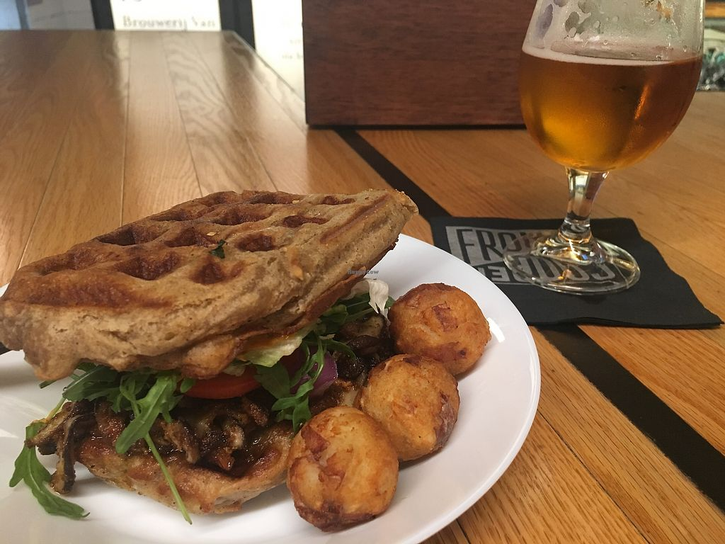 """Photo of Veg On The Edge  by <a href=""""/members/profile/vegancheeks"""">vegancheeks</a> <br/>Plantain waffle mushroom burger. Amazingly good! <br/> April 25, 2018  - <a href='/contact/abuse/image/95261/390922'>Report</a>"""