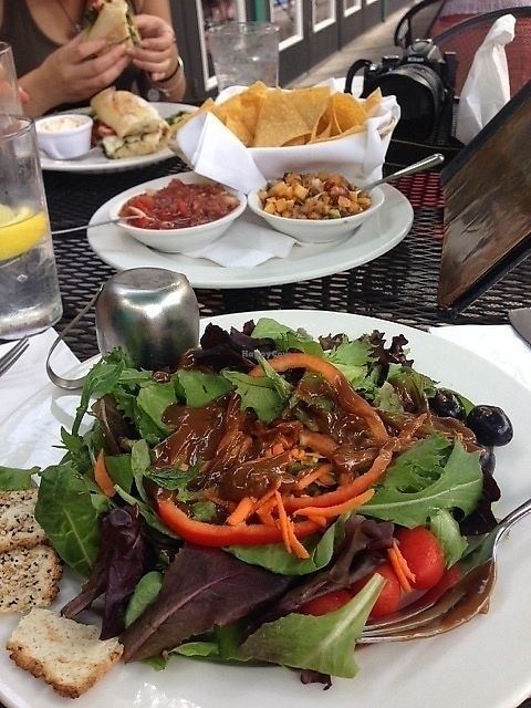 """Photo of Local Flavor Cafe  by <a href=""""/members/profile/MollyJD17"""">MollyJD17</a> <br/>House salad with delicious vinaigrette, chips with red and mango salsa, chicken walnut pesto sandwich (overfilled!) with side of coleslaw <br/> July 4, 2017  - <a href='/contact/abuse/image/95275/276671'>Report</a>"""