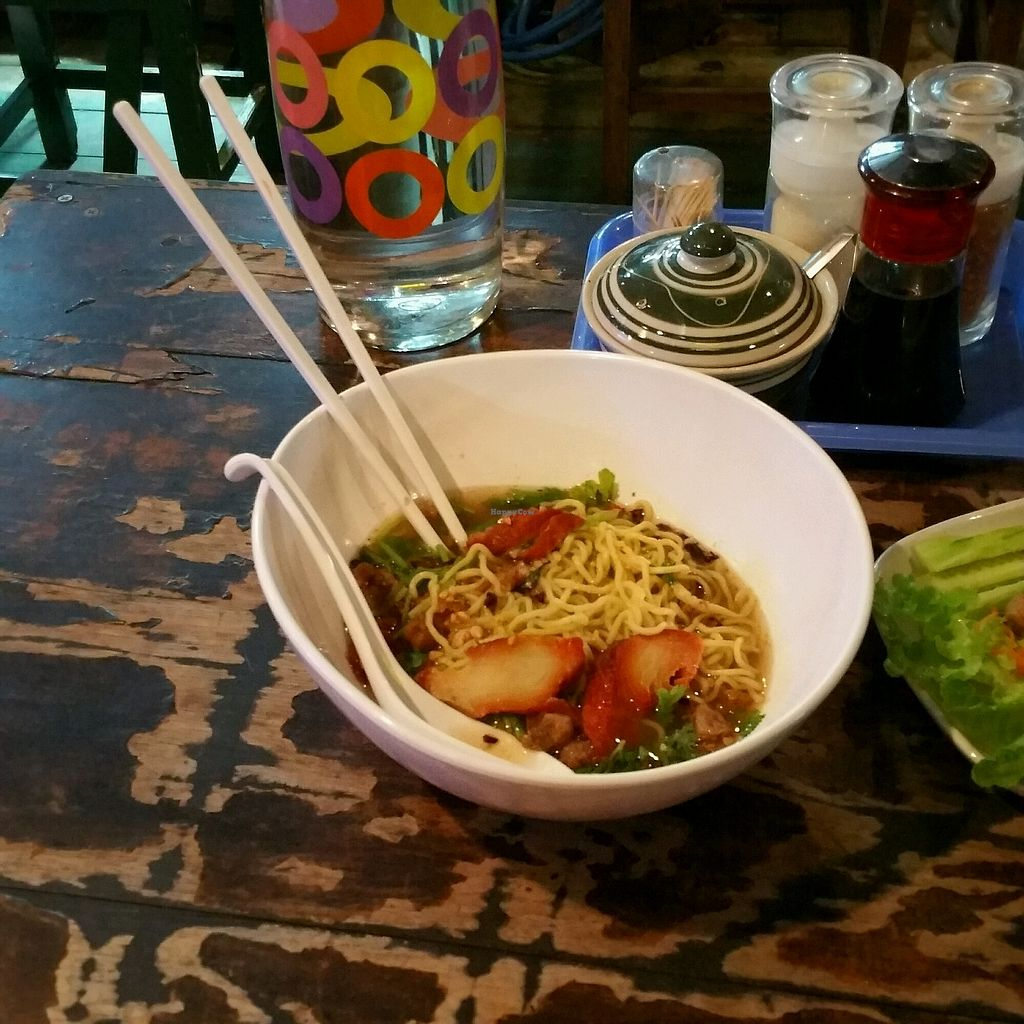 """Photo of Home J - Teaw J  by <a href=""""/members/profile/LAHegarty"""">LAHegarty</a> <br/>Egg noodle soup with red pork <br/> March 1, 2018  - <a href='/contact/abuse/image/95279/365366'>Report</a>"""