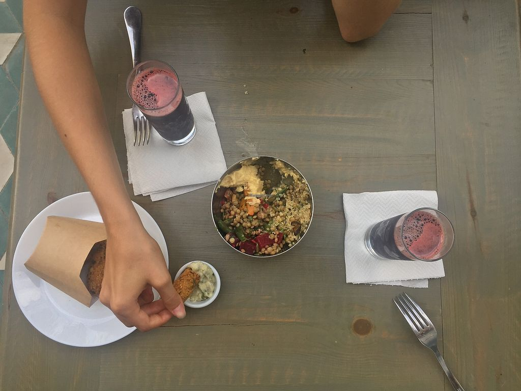 """Photo of Veggie  by <a href=""""/members/profile/Alena"""">Alena</a> <br/>Salad+Falafel+Watermelon juice with algae supplement <br/> August 19, 2017  - <a href='/contact/abuse/image/95282/294420'>Report</a>"""
