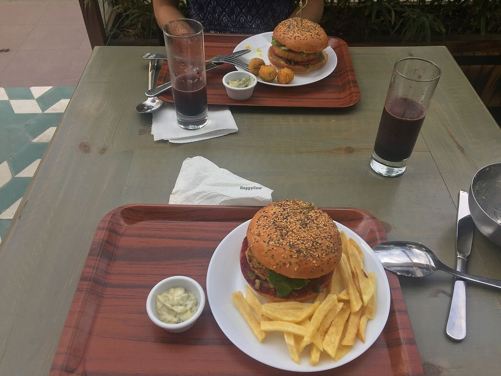 """Photo of Veggie  by <a href=""""/members/profile/Alena"""">Alena</a> <br/>Chickpea burger with croquette+ Quinoa/Soy burger with fries <br/> August 19, 2017  - <a href='/contact/abuse/image/95282/294421'>Report</a>"""