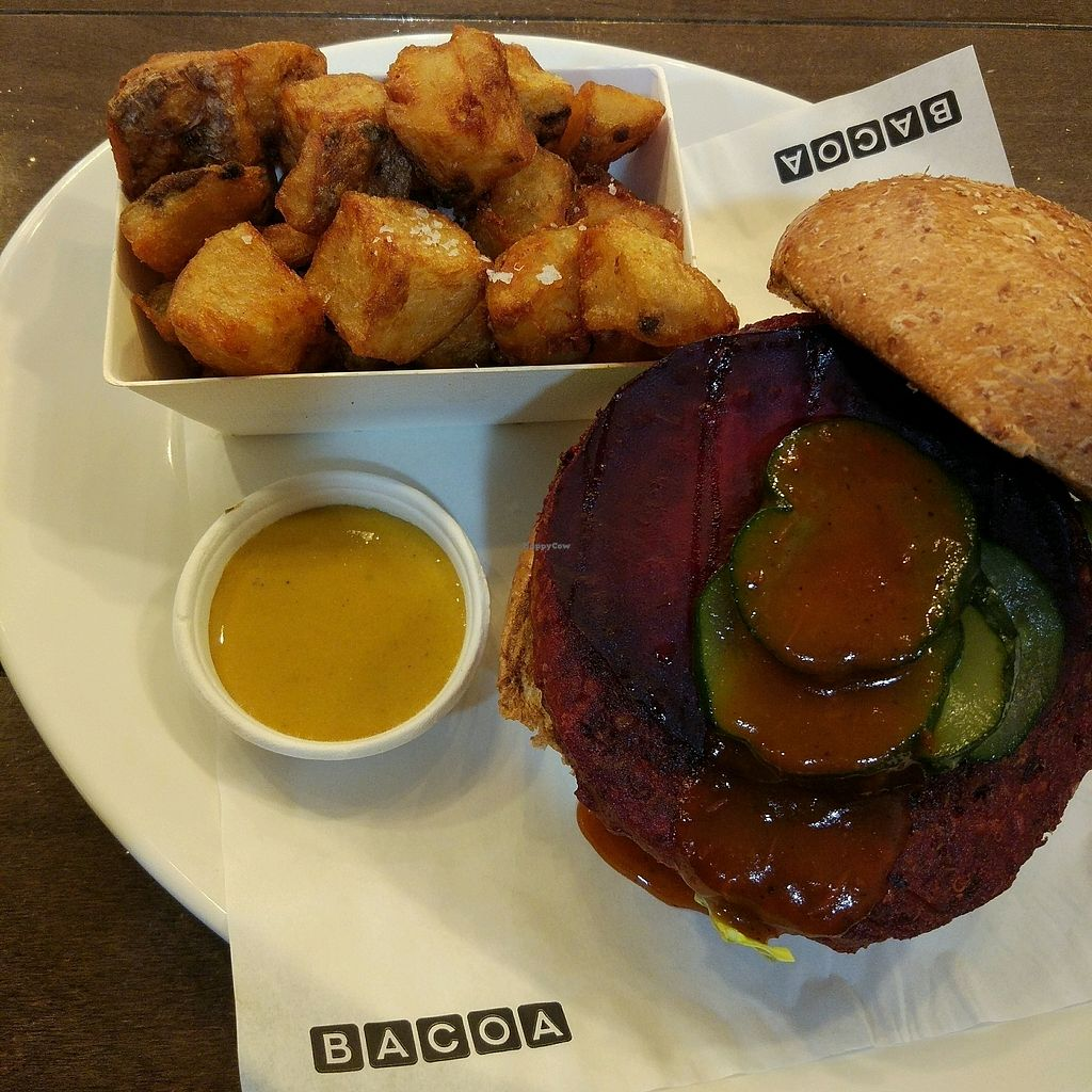 """Photo of Bacoa Burger - Universitat  by <a href=""""/members/profile/TimB"""">TimB</a> <br/>Vegan Beet Burger  <br/> March 30, 2018  - <a href='/contact/abuse/image/95324/378441'>Report</a>"""