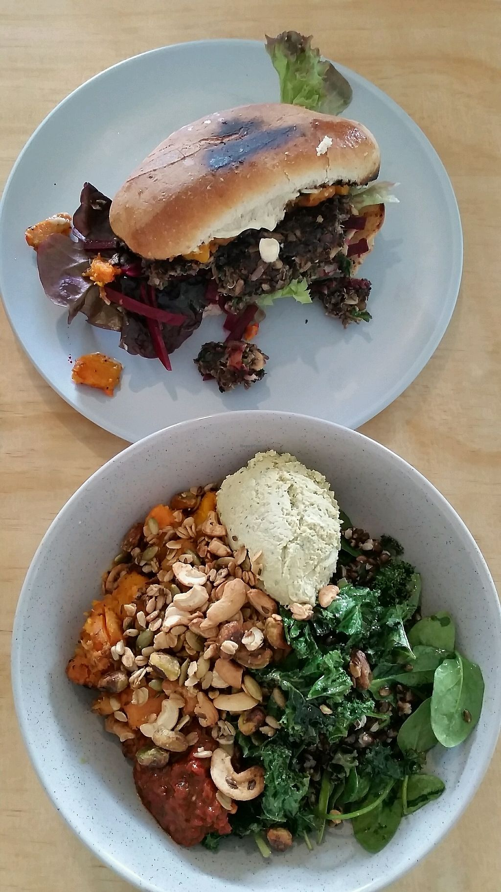 """Photo of Sunday Cantina  by <a href=""""/members/profile/AndyTheVWDude"""">AndyTheVWDude</a> <br/>Mushroom & Lentil Burger/ Pumpkin & Kumara Fry Vegan Bowl ~ Yum! <br/> September 11, 2017  - <a href='/contact/abuse/image/95357/303171'>Report</a>"""