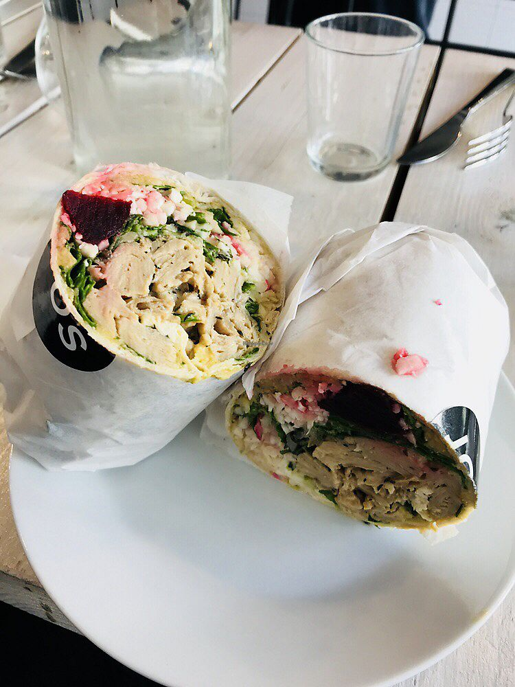 """Photo of JOS - Kungsportsavenyen  by <a href=""""/members/profile/mthunborg"""">mthunborg</a> <br/>Tasty Wrap from JOS. All 3 salads, beets and Oumph Timjan protein <br/> April 8, 2018  - <a href='/contact/abuse/image/95364/382684'>Report</a>"""