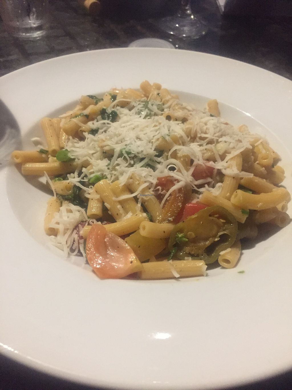 """Photo of Three Vines Bistro  by <a href=""""/members/profile/KaitlynnGill"""">KaitlynnGill</a> <br/>Chickpea pasta which is vegan and gf and asked to add almond cheese! <br/> July 8, 2017  - <a href='/contact/abuse/image/95385/277854'>Report</a>"""