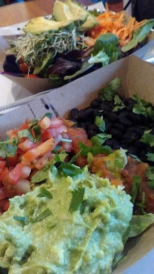 "Photo of Bubby's Take Away Kitchen  by <a href=""/members/profile/foodfirst"">foodfirst</a> <br/>vegan burrito bowl with extra beans instead of rice; small salad in background <br/> April 11, 2018  - <a href='/contact/abuse/image/95400/383610'>Report</a>"